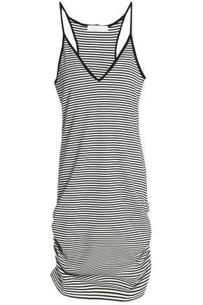 KAIN Ruched striped ribbed stretch-knit mini dress