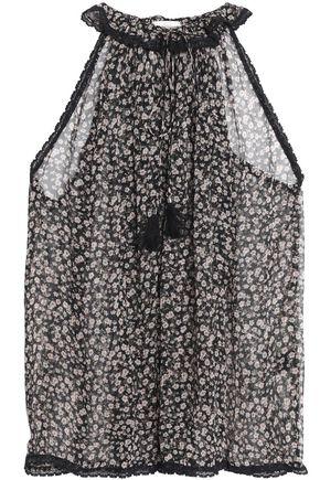 ZIMMERMANN Lace-trimmed floral-print silk-georgette top