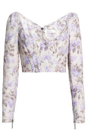 ZIMMERMANN Stranded cropped floral-print linen bustier top