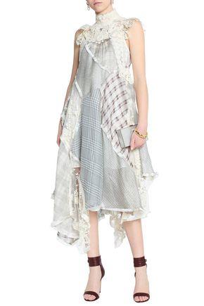 8dc1557a64f07 ZIMMERMANN Asymmetric lace-paneled checked silk and linen-blend midi dress