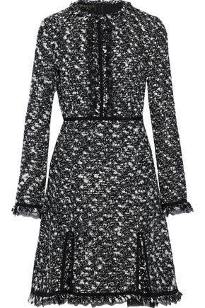 GIAMBATTISTA VALLI Lace-trimmed frayed cotton-blend bouclé-tweed mini dress