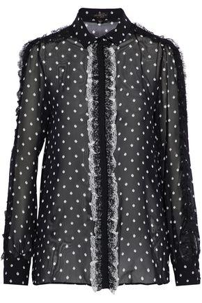 GIAMBATTISTA VALLI Ruffled lace-trimmed printed silk-georgette shirt