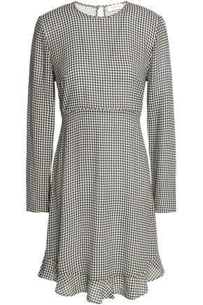 ZIMMERMANN Fluted gingham crepe mini dress