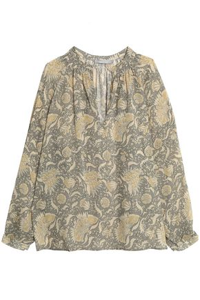 VINCE. Printed silk-crepe blouse