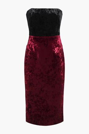 BLACK HALO Rumor strapless two-tone crushed-velvet dress