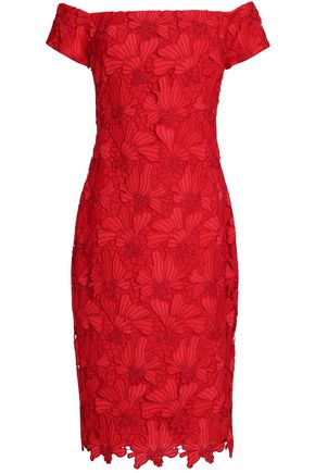 BLACK HALO Off-the-shoulder floral macramé lace dress