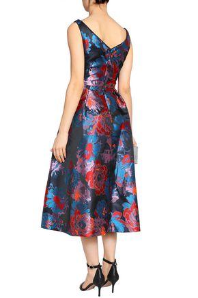 BLACK HALO Takim split-front floral-jacquard midi dress