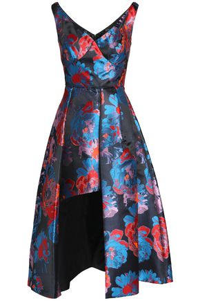 BLACK HALO Takim split-front floral-jacquard midi dress