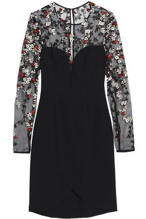 BLACK HALO EVE by LAUREL BERMAN Chantilly embroidered lace-paneled crepe mini dress