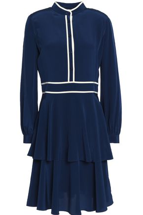 TORY BURCH Tiered pleated silk crepe de chine dress