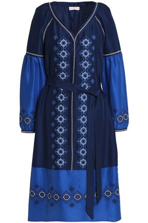 TORY BURCH Belted embroidered silk kaftan