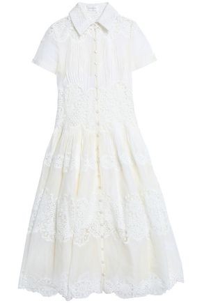 ZIMMERMANN Lace-paneled cotton-gauze dress
