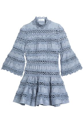 ZIMMERMANN Flared crochet-trimmed silk-canvas mini dress