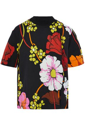 MARNI Floral-print cotton-blend crepe and jersey top