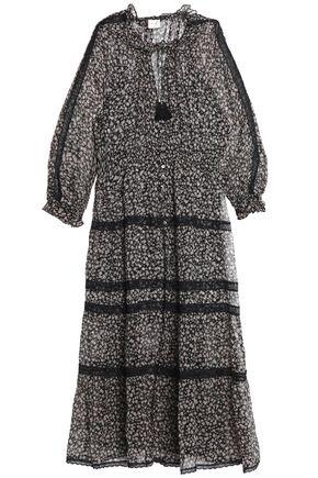 ZIMMERMANN Lace-trimmed shirred floral-print silk-georgette midi dress