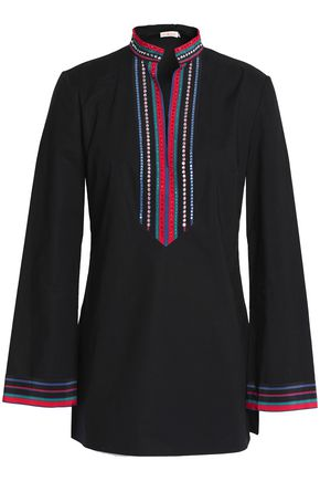TORY BURCH Embellished crepe-trimmed cotton-blend poplin tunic