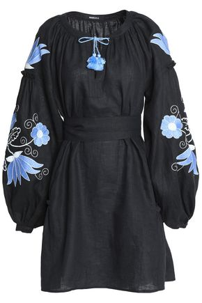 MARCH11 Belted embroidered linen mini dress