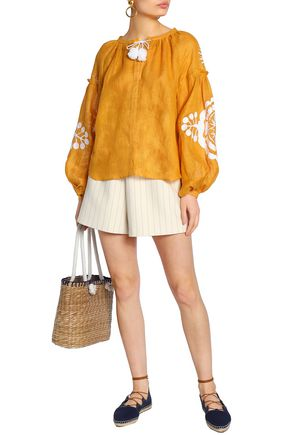 MARCH11 Gathered embroidered linen tunic