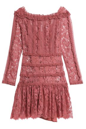ZIMMERMANN Ruffled lace-trimmed Swiss-dot tulle mini dress