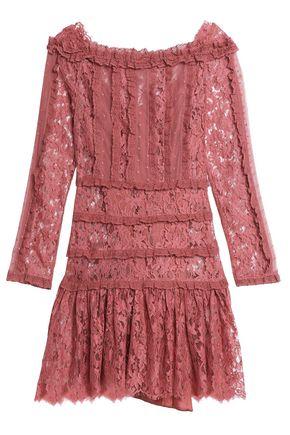 ZIMMERMANN Ruffled lace-trimmed Swiss-dot tulle mini dress