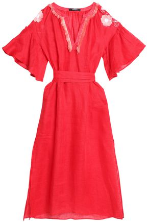MARCH11 Fringe-trimmed embroidered linen midi dress