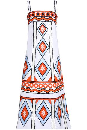 TORY BURCH Embroidered cotton-poplin midi dress