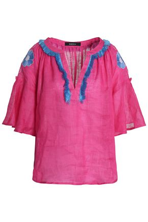MARCH11 Fringe-trimmed embroidered linen tunic