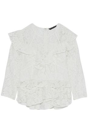 MARISSA WEBB Ruffled corded lace peplum blouse