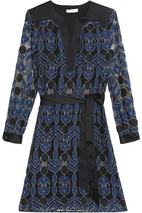 TORY BURCH Belted satin-trimmed fil coupé tulle dress