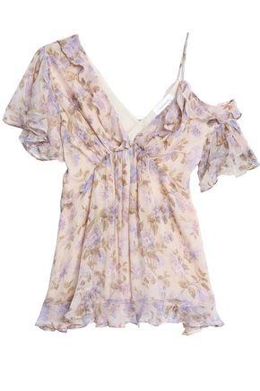 ZIMMERMANN Stranded asymmetric floral-print silk-georgette blouse