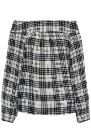 MARISSA WEBB Off-the-shoulder checked gauze top