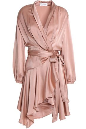 ZIMMERMANN Ruffled washed-silk wrap dress