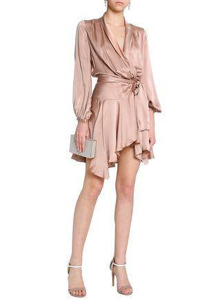 707ba46b7c77f ... ZIMMERMANN Ruffled washed-silk wrap mini dress ...