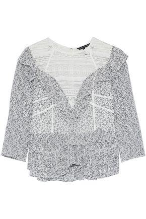 MARISSA WEBB Guipure lace-paneled ruffled corded lace blouse