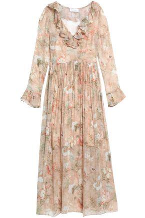 ZIMMERMANN Ruffle-trimmed floral-print silk-crepon midi dress