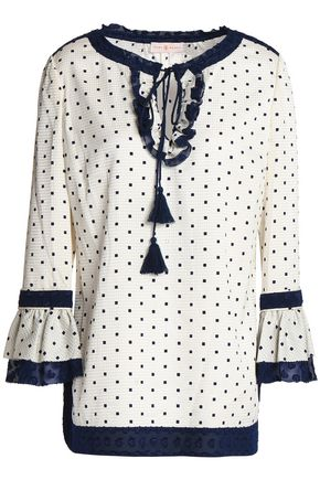 TORY BURCH Ruffle-trimmed polka-dot silk-blend jacquard tunic