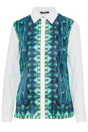 ROBERTO CAVALLI Printed twill-paneled silk-piqué shirt