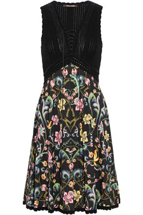 ROBERTO CAVALLI Lace-up metallic crochet and floral-print crepe dress