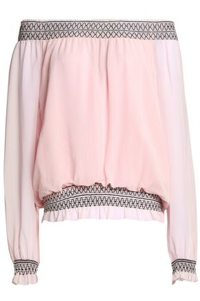 TORY BURCH Off-the-shoulder smocked silk-georgette blouse