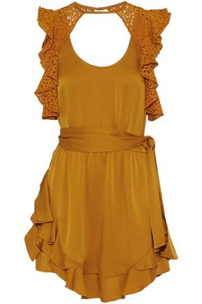 MARISSA WEBB Ruffled corded lace-paneled satin-crepe mini dress