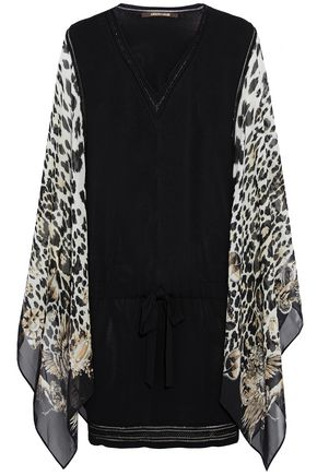 ROBERTO CAVALLI Draped leopard-print silk-paneled stretch-knit mini dress