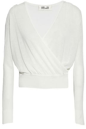 DIANE VON FURSTENBERG Wrap-effect cotton-blend top