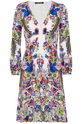 ROBERTO CAVALLI Gathered floral-print crepe dress