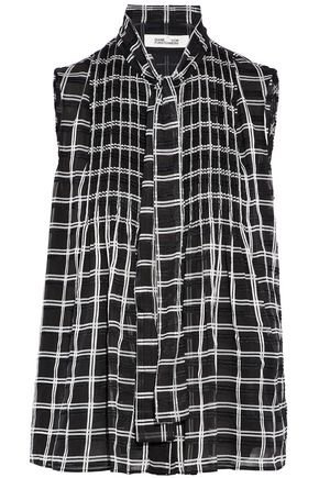 DIANE VON FURSTENBERG Pussy-bow checked fil coupé chiffon top
