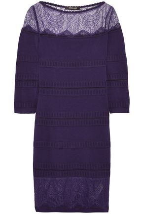 ROBERTO CAVALLI Chantilly lace-paneled stretch-knit mini dress