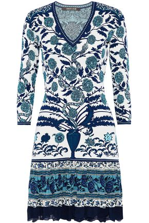ROBERTO CAVALLI Crochet-trimmed printed silk-paneled jacquard-knit mini dress