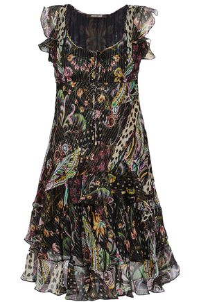 ROBERTO CAVALLI Ruffled printed metallic silk-blend georgette dress