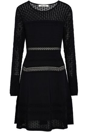DIANE VON FURSTENBERG Crochet-paneled stretch-knit dress