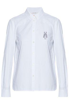 CHINTI AND PARKER Appliquéd cotton-poplin shirt