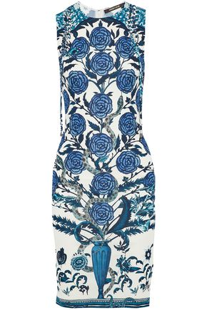 ROBERTO CAVALLI Lace-up floral-print cady dress